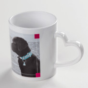 Bild Logo eigenes Foto individuell gestaltete Tasse mit farbigem Henkel